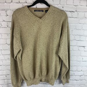 Northern Isles tan v neck cotton sweater
